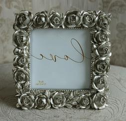 NEW! Love Photo Picture Frame Silver Roses Tabletop 4 x 4, W
