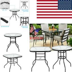 Patio Dining Table Square Tempered Glass Tabletop Steel Fram