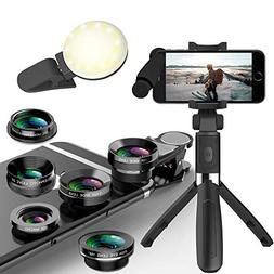 Phone Camera Lens 5 in 1 Kit -Macro Lens & 0.63X Wide Angle