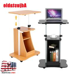 Portable Mobile Rolling Laptop Cart Table Computer Stand Adj
