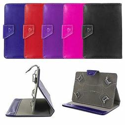 "Premium Universal 7"" Folio Leather Case Cover Skin w/ Stand"