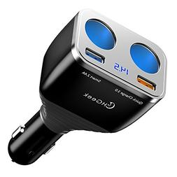Quick Charge 3.0 Car Charger, CHGeek 80W 12V/24V 2 Socket Ci