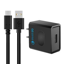 Quick Charge 3.0 USB Wall Charger Adapter + 6.6ft USB Type-C