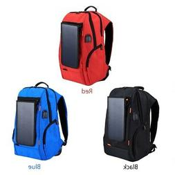 solar panel backpack breathable travel casual usb charging c