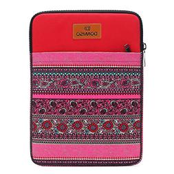 DOMISO 10 inch Tablet Sleeve Case Canvas Fabric Flower Patte