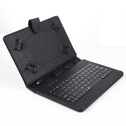 US Black Micro USB Keyboard Folio Leather Case Cover for 7''