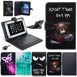 "US For 10"" 10.1 inch Tablets Pattern PU Leather USB Keyboard"