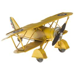 Yellow Metal Biplane Aviation Tabletop Decor. Adorable Rusti